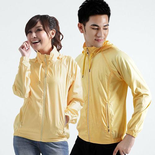 【遊遍天下】MIT台灣製抗UV防風機能連帽外套A020淺黃