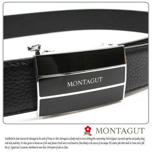 MONTAGUT夢特嬌-頭層牛皮 精品 自動扣皮帶845002