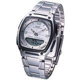 CASIO 雙顯商務錶 (白)