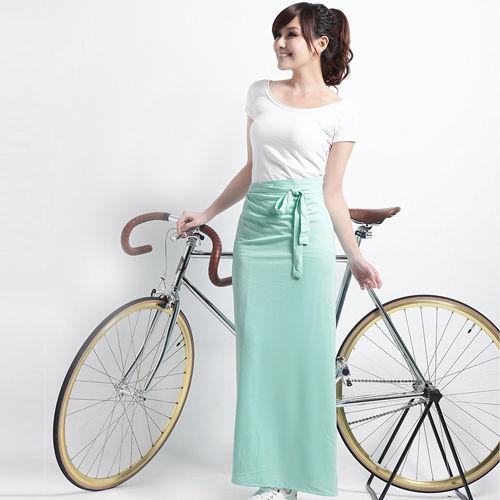 【遊遍天下】MIT涼感抗UV防曬吸排多功能一片裙117綠(加大尺碼)