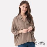 【TOP GIRL】都會女郎寬版造型襯衫-女(墨綠棕)
