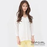 【TOP GIRL】甜蜜女孩寬版造型襯衫-女(經典白)