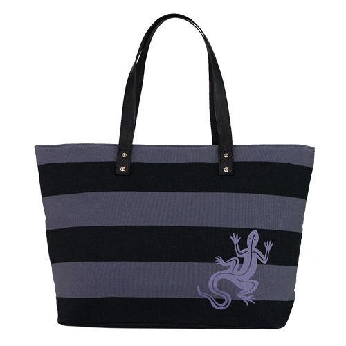 agnes b.  蜥蜴雙色條紋帆布購物包(黑灰)