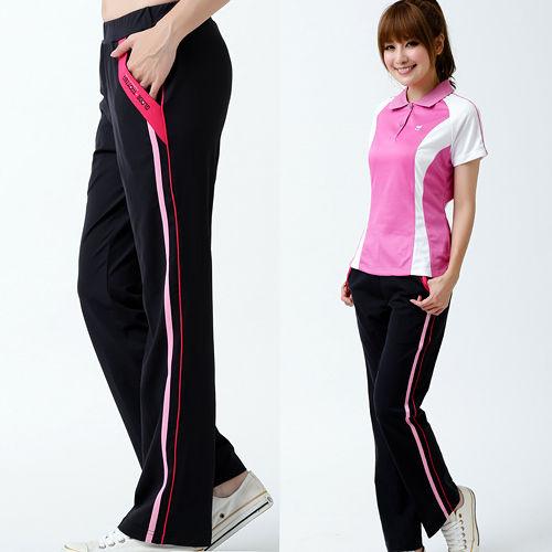【遊遍天下】MIT女款抗UV彈性休閒伸縮長褲P126黑/玫紅