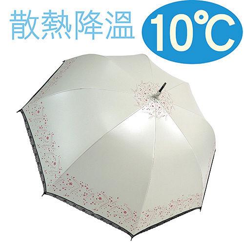 ◆日本雨之戀◆ 散熱降溫10℃直自動傘 - 心葉 {米白} 遮陽傘/雨傘/晴雨傘/降溫傘/專櫃傘