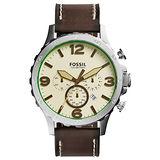 FOSSIL 重裝教士三眼運動計時腕錶-米白x深咖啡皮帶