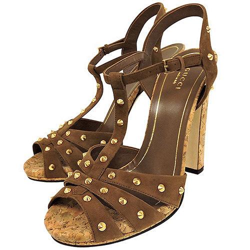 GUCCI 麂皮鉚釘高跟涼鞋-咖啡色(39號)