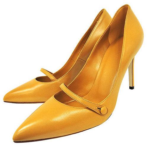 GUCCI 真皮尖楦細跟高跟鞋-黃色(36號)
