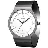 OBAKU 層次空間時尚簡約鈦金屬腕錶(大/白/皮帶)