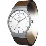 OBAKU 極簡時代優雅時尚腕錶-咖啡帶白面/大