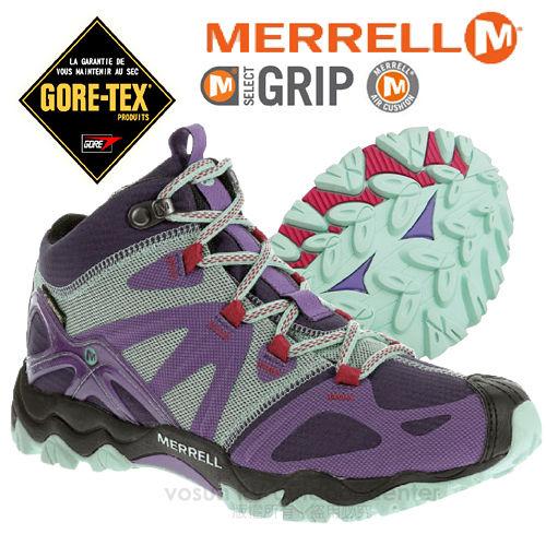 【美國 MERRELL】女新款 Grossbow Sport Mid Gore-Tex專業防水透氣中筒登山健行鞋.抗菌防臭味,排汗.避震_紫/淺藍 J65152