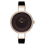 OBAKU 采麗時刻晶鑽時尚腕錶-玫瑰金X黑皮帶