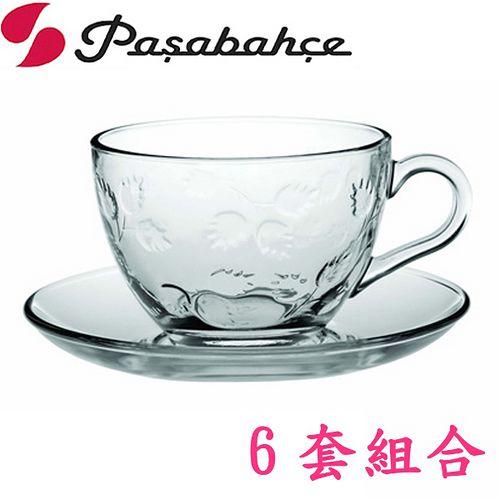 土耳其Pasabahce精緻玻璃雕花咖啡杯盤-六套組