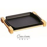 Staub 鑄鐵鍋 烤盤 長形烤盤 平底煎盤 含原木架 35cm