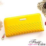 DF Flor Eden皮夾 - 巴黎簡約系列羊皮編織款單拉鍊長夾-陽光黃