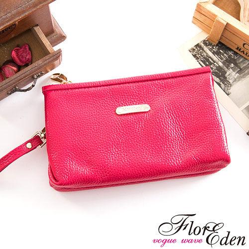 DF Flor Eden皮夾 - 俏莉漾女真皮系單拉鍊手拿包-甜美桃