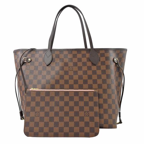 Louis Vuitton LV N41603 NEVERFULL MM 棋盤格紋子母束口購物包.中_現貨