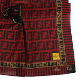 FENDI 經典雙FF大LOGO條紋飾邊帕領巾(紅色)