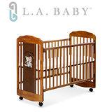 L.A. Baby 美國加州貝比 愛丁熊搖擺中小嬰兒床 原木床 童床(咖啡色.白色)
