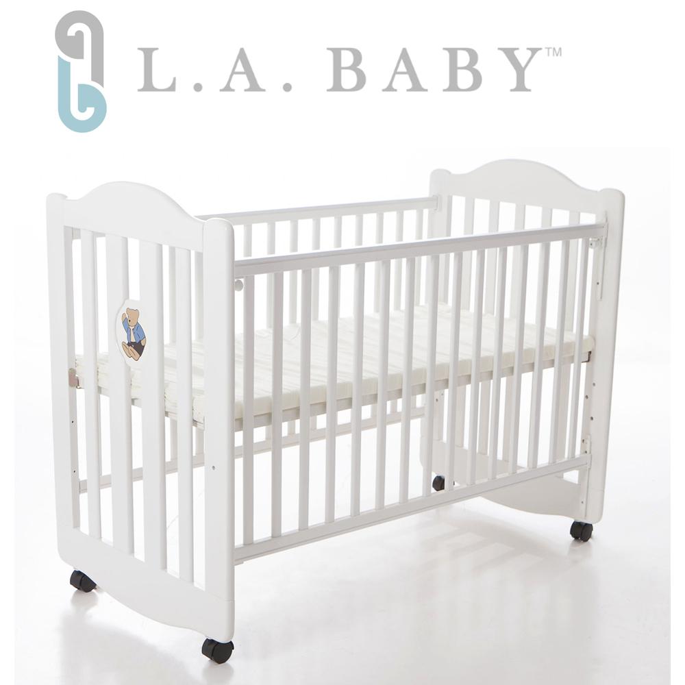 L.A. Baby 美國加州貝比 凱麗熊搖擺中小嬰兒床/原木床/童床(咖啡色/白色)