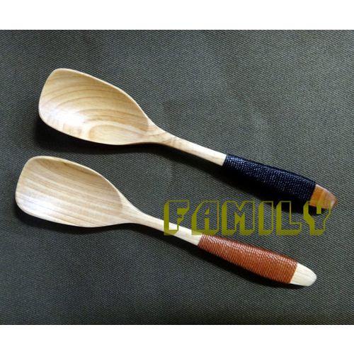 日式居家 天然木 木質餐具 - 綁線點心勺 單支- 黑色 / 駝色