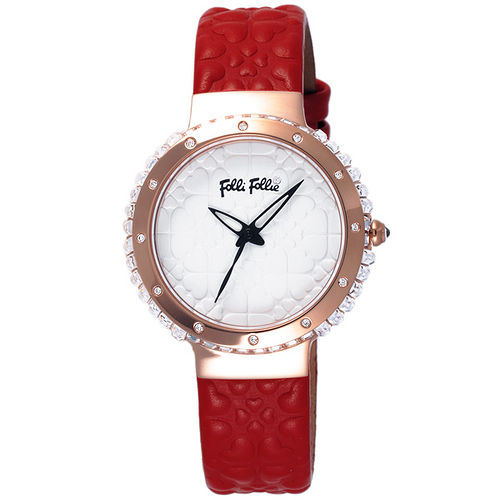 Folli Follie 海洋風情晶鑽時尚腕錶-玫瑰金框白x紅色皮帶
