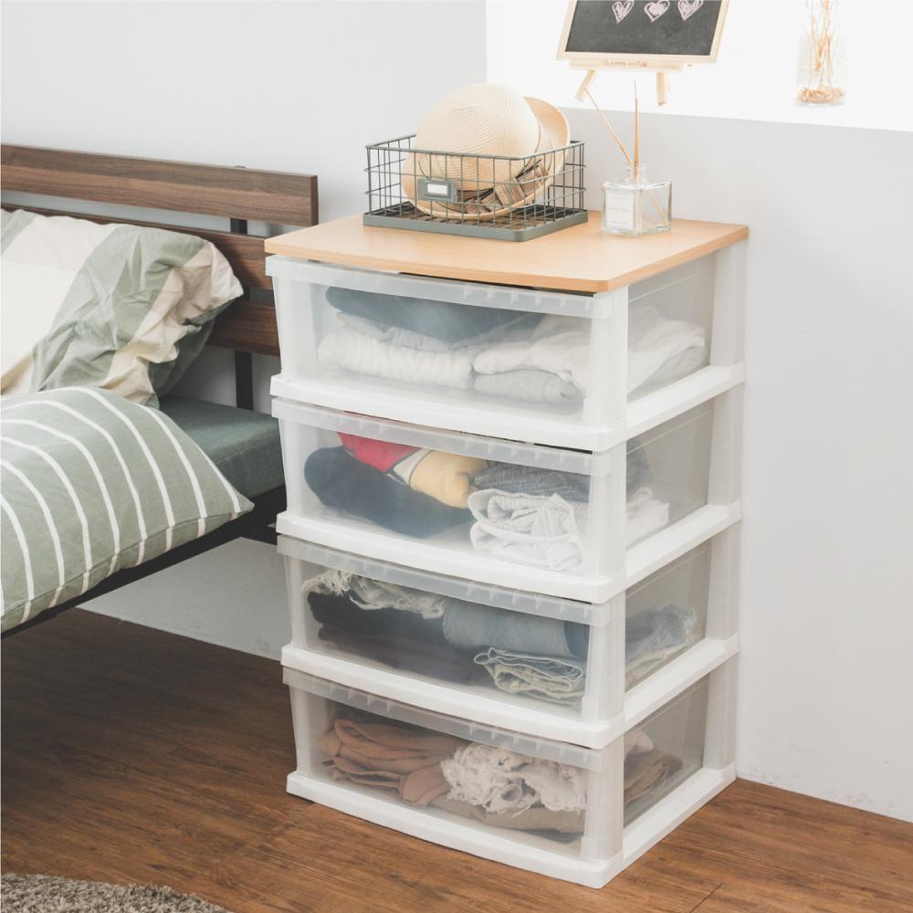 Peachy life 日系木天板四層整理箱抽屜櫃/衣物收納櫃(加寬版)
