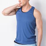 【法式都會型男】男背心-涼感運動挖背背心-淺藍