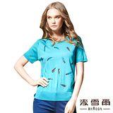 【麥雪爾】蠶絲圓領藍色羽鑽針織上衣-三色