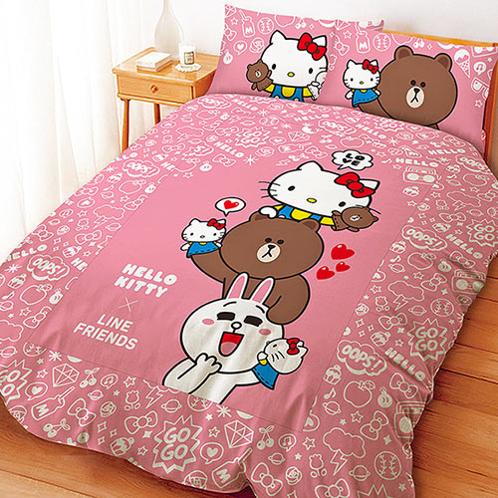 【享夢城堡】單人床包涼被三件式組-HELLO KITTYxLINE 手偶同樂會-粉