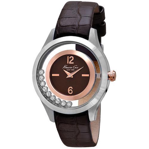 Kenneth Cole 和緩旋律氣質皮帶腕錶~銀框深咖啡