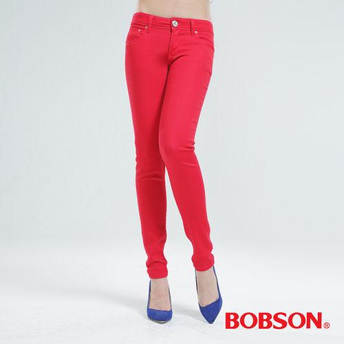 BOBSON 彩色強彈力緊身褲-紅色 8068-13