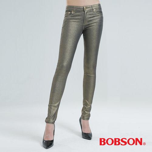 BOBSON 金銀色緊身小直筒牛仔褲(香檳金8091-02)