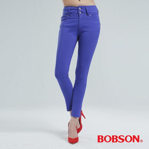 BOBSON 高腰頭強彈力小直筒褲-藍紫 8112-50