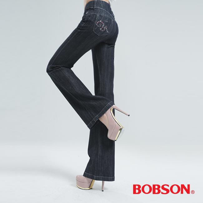 BOBSON 高腰頭鑽飾伸縮喇叭褲-鐵灰 9050-52