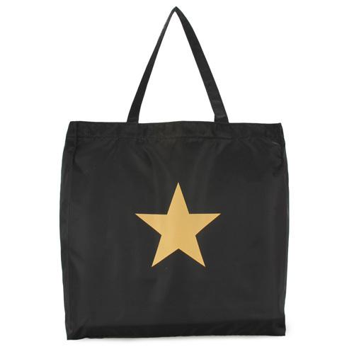 agnes b. 經典星星購物袋(黑色)