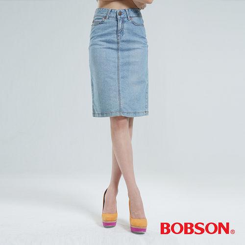 BOBSON 伸縮短裙-淺藍 D067-58