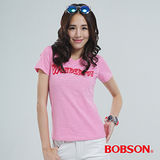 BOBSON 英文字體印圖T恤-粉紅 20118-10