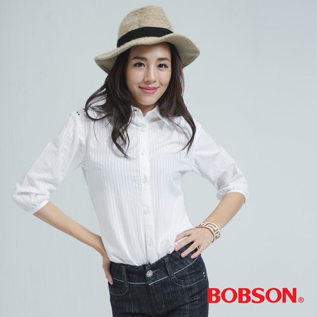 BOBSON女款刺繡襯衫(白色25139-81)