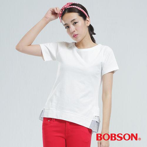 BOBSON女款荷葉下擺上衣(白色25148-81)