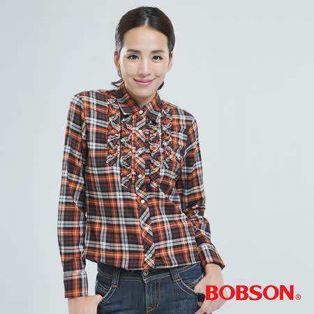 BOBSON 綁帶.長版格子衫(橘色30122-75)