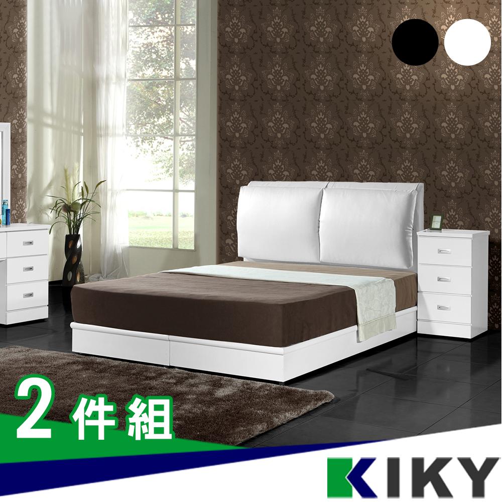 【KIKY】戀戀風情皮質靠枕雙人5尺二件組(床頭片+床底)
