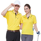 【SPAR】吸濕排汗男女版短袖POLO衫(SP61556、SP73556)亮黃色