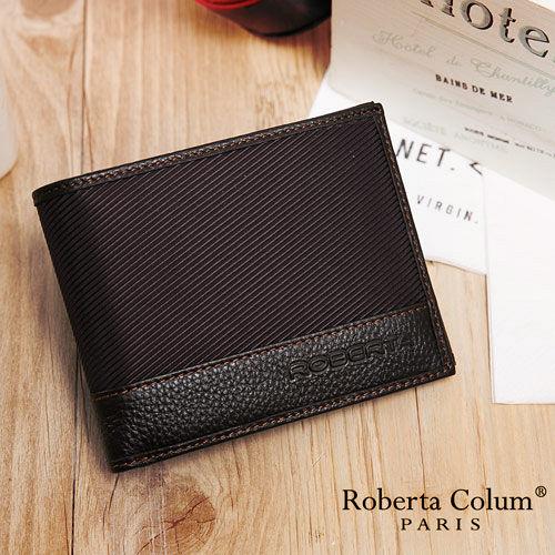 Roberta Colum - 雅痞時尚系牛皮款左右翻8卡1照短夾