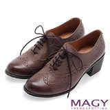 MAGY英倫學院風 經典花邊綁帶真皮牛津鞋-咖啡