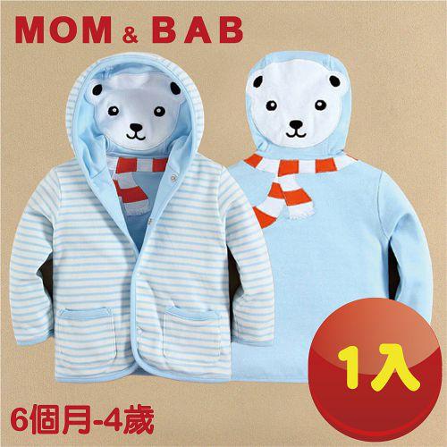 (購物車)【MOM AND BAB】天藍北極熊純棉小外套 兩面穿(6M-4T)