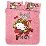 【享夢城堡】HELLO KITTY 女超人系列-雙人純棉四件式床包涼被組(粉)