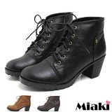 【Miaki】MIT 韓風熱銷綁帶英倫粗跟短靴牛津靴 (咖啡/棕色/黑色)