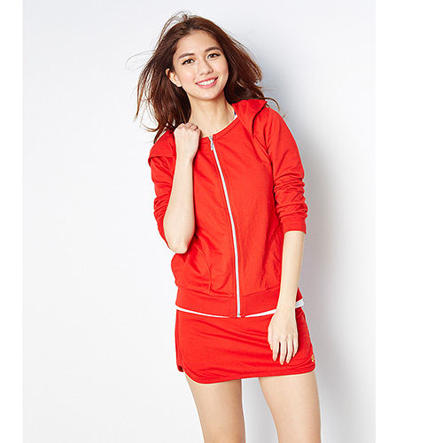 TOP GIRL休閒運動連帽棉針織外套-女(火熱紅)