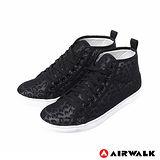 AIRWALK(女) - 夏日的紗網隱式豹紋內增高休閒鞋 - 面具黑